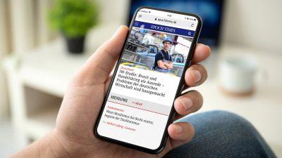 Böswillige Werbung macht Epoch Times mobil unlesbar: Löschen Sie alle Cookies und den Browserverlauf