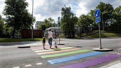 Zebrastreifen für Transgender und LGBT: Holland hat blau-rosa-weiße und Regenbogen-Zebrastreifen