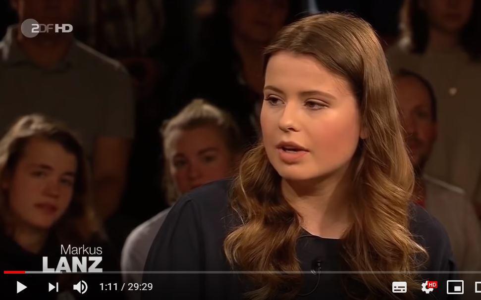 """Die deutsche """"Klima-Greta"""" Luisa Neubauer von Fridays for Future bei Markus Lanz im TV. Foto: Screenshot Youtube/ZDF"""