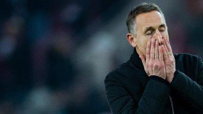 Redebedarf: Trainer Beierlorzer beim in Köln vor dem Aus
