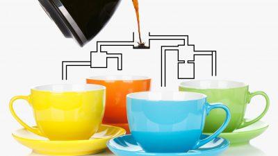 Wer bekommt zuerst seinen Kaffee?