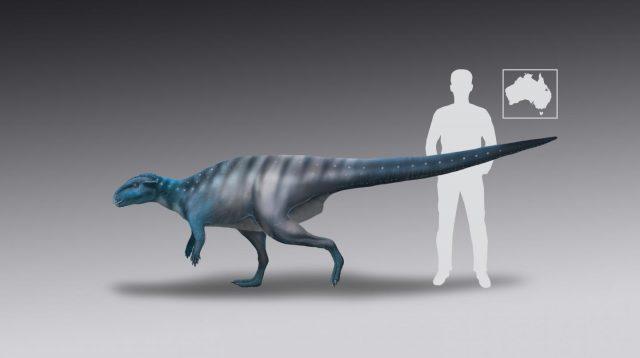Rekonstruktion des Dinosaurier, der die Abdrücke hinterließ.