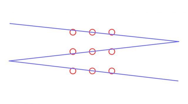 Wenn die Punkte nicht im Mittelpunkt berührt werden müssen - und das Blatt groß genug ist - reichen auch drei Linien.