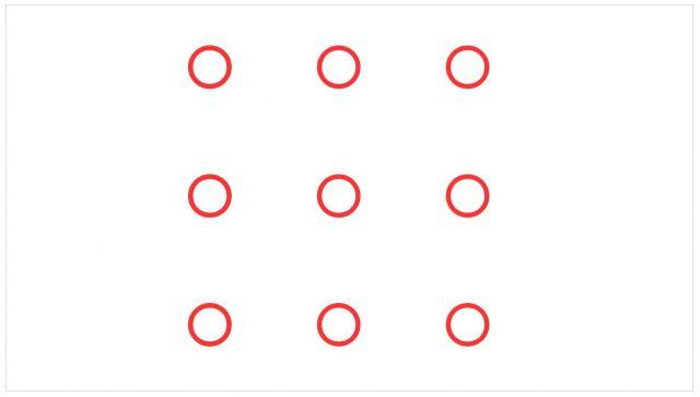 Können Sie diese neun Punkte mit vier geraden Linien verbinden, ohne den Stift abzusetzen?