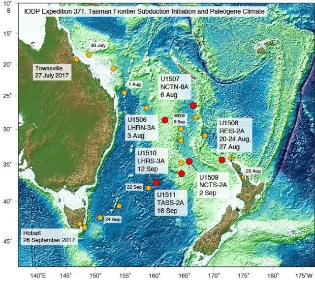 """Kürzlich durchgeführte Meeresbodenbohrungen haben ergeben, dass der """"verborgene Kontinent"""" Zealandia vermutlich an der Bildung des Pazifischen Feuerrings beteiligt war."""