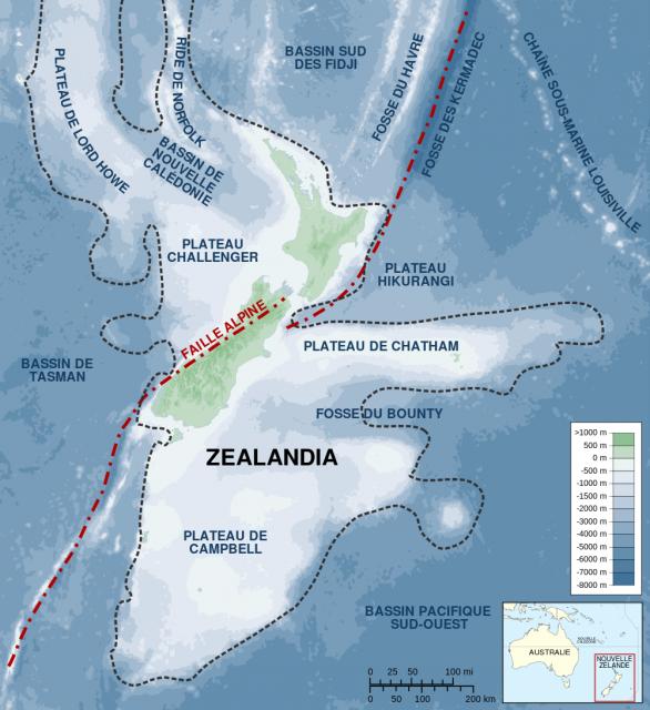Lage von Zealandia im Westpazifik.