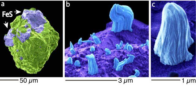 """Der Asteroid """"Itokawa"""" trägt unzählige, mikroskopische """"Haare"""" aus Eisen."""