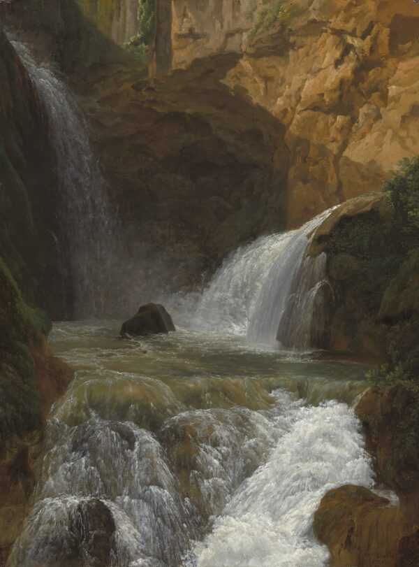 """Naturgetreu gezeichnet """"Blick auf die Wasserfälle von Tivoli"""", 1788, von Jean-Joseph-Xavier Bidauld."""