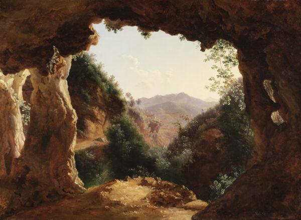 """""""Grotte in einer felsigen Landschaft"""", 1790 und 1870, von Louise-Joséphine Sarazin de Belmont"""