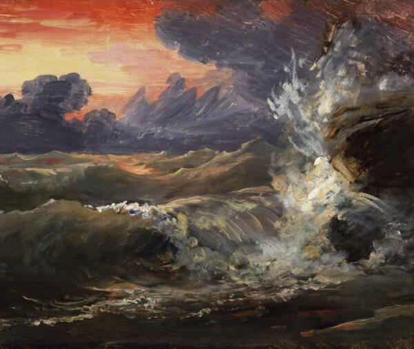 """Naturgetreu gezeichnet """"Eine Studie über Wellen, die bei Sonnenuntergang gegen Felsen schlagen"""", 1770-1837, von Baron François Gérard."""