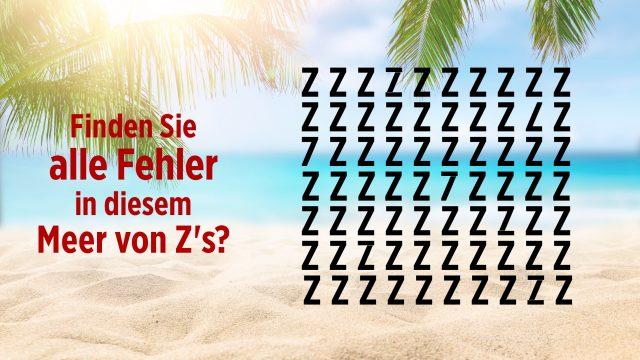 Rätsel-Suchbild Sieben in Meer von Z's