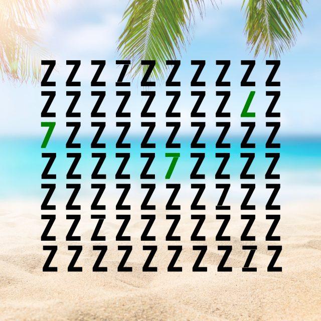 Rätsel-Suchbild Sieben in Meer von z