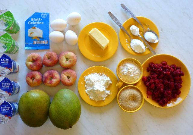 Zutaten Mango-Pfirsich-Himbeer-Torte