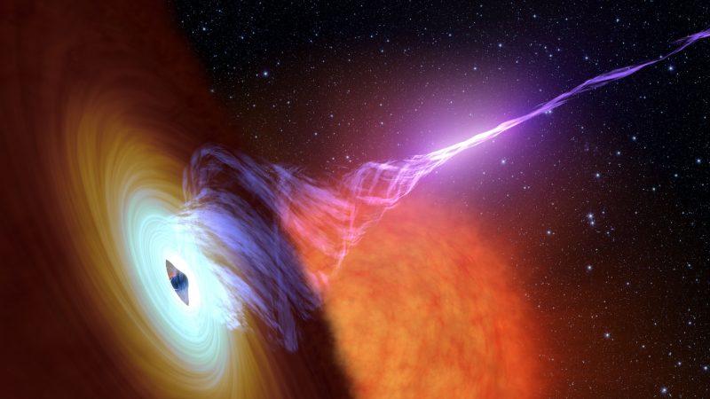 Plasmajets Schwarzer Löcher wirken vermutlich über Tausende Lichtjahre als Teilchenbeschleuniger.
