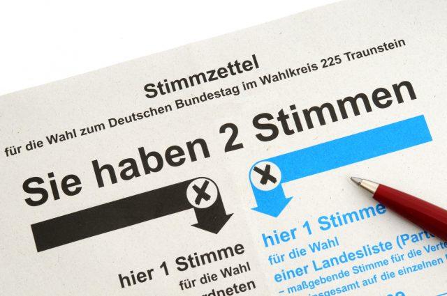 Wahlzettel Bundestagswahl 2021 Nrw