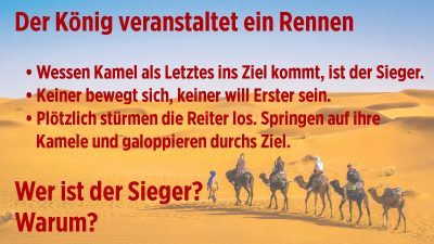 Das langsamste Kamel der Wüste: Zwei Rätsel, die nur ein weiser Mann (oder Frau) lösen kann