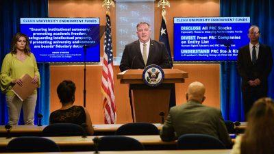 Chinesische Diplomaten müssen künftig um Erlaubnis bitten, Besuche und Treffen in den USA durchzuführen