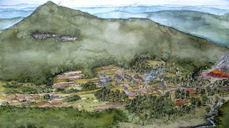 Bronzezeitliche Siedlung im Allgäu als Zeichnung