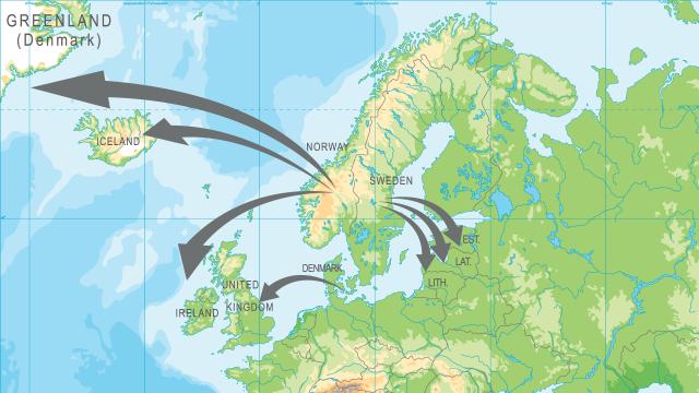 Karten zeigt Seewege der Wikinger