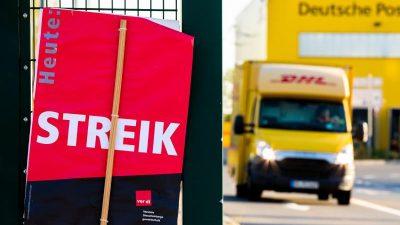 Mehr als 11.000 Beteiligte an Post-Warnstreiks
