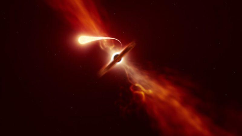 Spaghettisierung eines Sterns an einem Schwarzen Loch