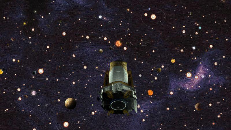 Das Ölgemälde zu Ehren des Kepler-Weltraumteleskops zeigt unseren Nachthimmel voller verborgener Planeten. Auf mindestens 300 Millionen könnten potenziell bewohnbar sein