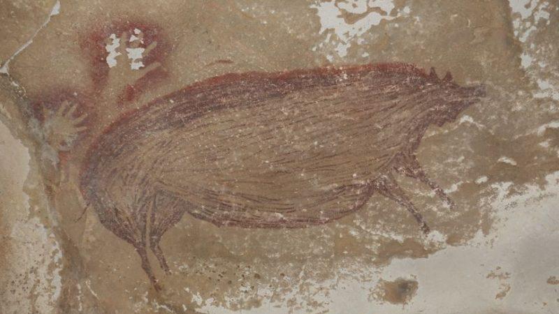 Zeichnung eines Sulawesi-Warzenschweins aus der Leang Tedongnge-Höhle