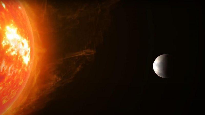 Künstlerische Darstellung der Super-Erde Gliese 486b und ihrem roten Zwergstern.