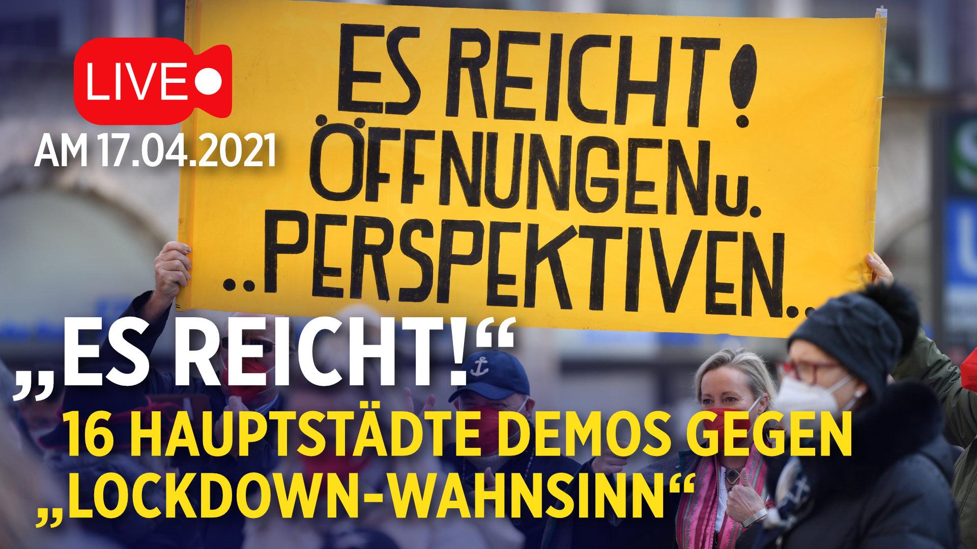 """""""Es reicht!"""" in 16 Bundesländern: Festnahmen in Berlin – Wasserwerfer in Düsseldorf und Wiesbaden"""