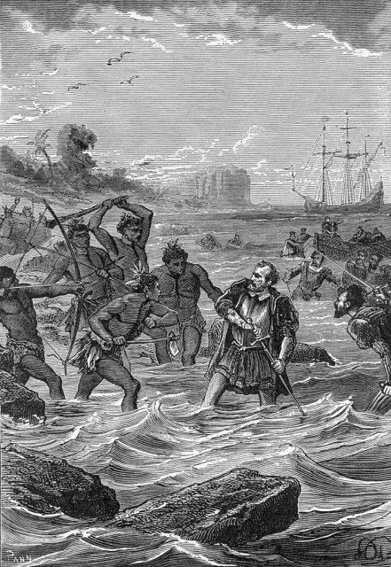 Zeichnung zu Tod von Magellan