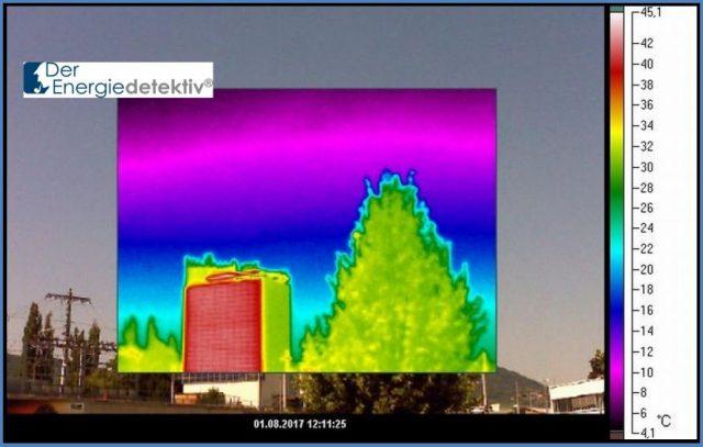 Großflächige Solaranlage an einer Gebäudefassade in Graz.