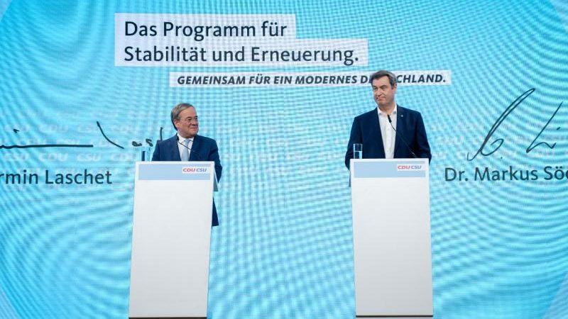 """Grüne und SPD kritisieren Unions-Wahlprogramm: """"zukunftsvergessen, unsozial und unsolide"""""""