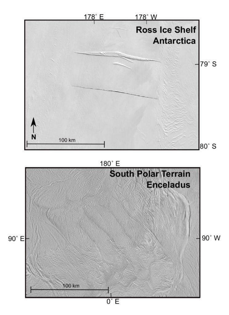 """Das Satellitenbild des Forschungsgebiets auf dem Ross-Schelfeis in der Antarktis (oben) zeigt zwei Risse im Eis, die von steigenden und fallenden Gezeiten herrühren. Vier ähnlich große """"Tigerstreifenbrüche"""" zerfurchen das Eis im Südpolargebiet von Enceladus"""