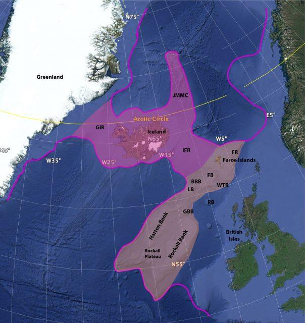 """Karte von """"Icelandia"""" und """"Greater Icelandia""""."""