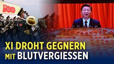 Zum 100-jährigen Jubiläum der KP Chinas hielt Staatschef Xi Jinping eine Kampfrede