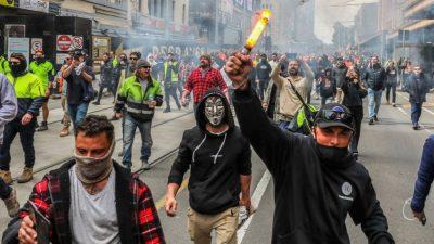 Erneut Proteste gegen Corona-Maßnahmen: Gewaltsame Ausschreitungen in Australien