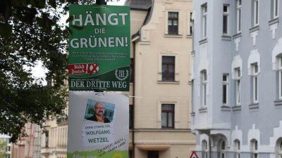 """Empörung über """"Hängt die Grünen""""-Plakate – juristische Einschätzung schwierig"""